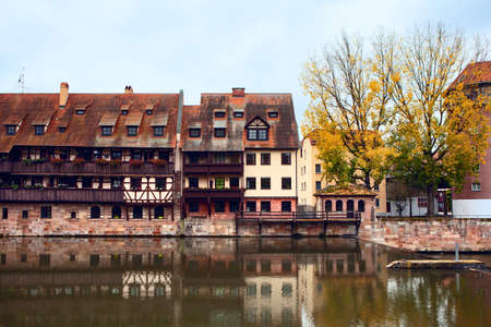 Nuremberg riverside houses in the old quarter Stok Fotoğraf - 155267720