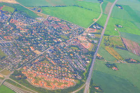 Aerial suburb view and green fields Stok Fotoğraf