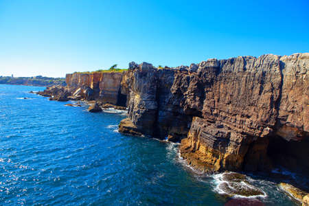Scenery of oceanfront cliffs Boca do Inferno in Cascais Portugal