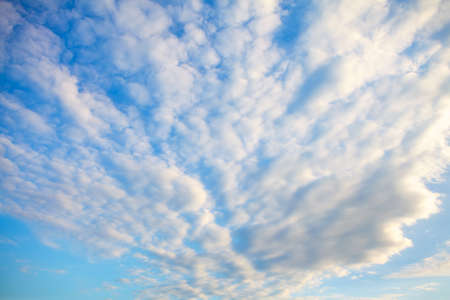 Cirrocumulus clouds in long rows high in the sky