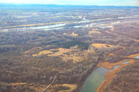Aerial view of Lobau ,Vienna floodplain on the northern side of the Danube . Lower Austria panorama