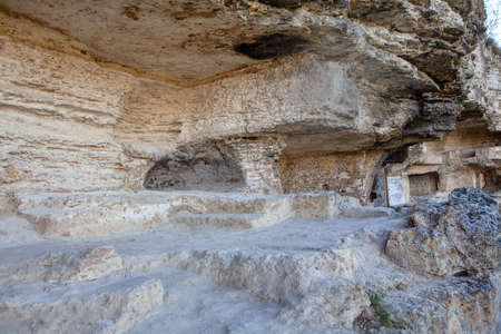 Cave monastery of monks. Stone ruins of ancient cave monastery Stok Fotoğraf