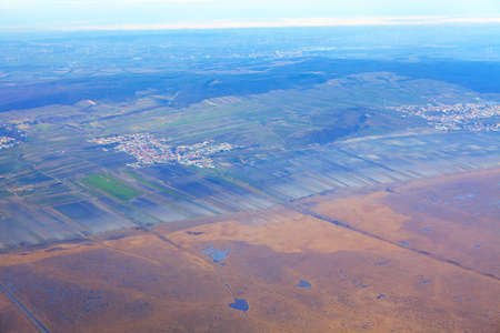 scenery of swamp area and aerial view of the town Stok Fotoğraf