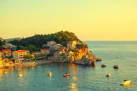Przno beach in Budva Montenegro . Scenery of Adriatic Sea coast