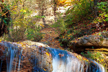 water cascade in the autumn forest