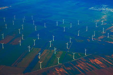 Aerial view of wind turbines . Fields with aerogenerators