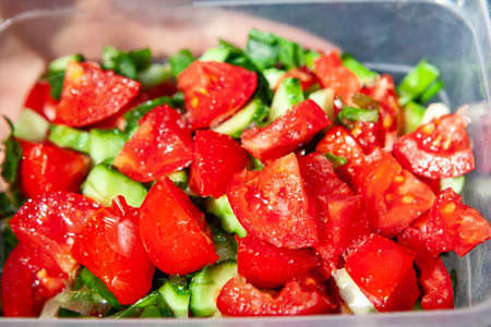 Fresh tomatoes salad . Healthy summer snack