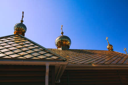domes with crosses on the church roof