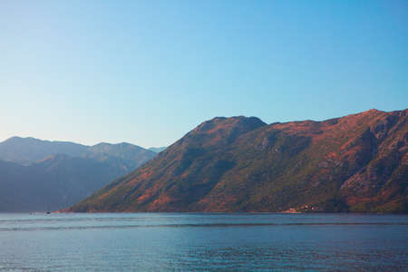 Coastal Mountains in Montenegro . Kotor Bay scenery in the morning