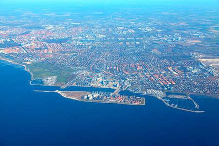 Aerial view of Malmo coast in Sweden . Panorama of swedish coastline of Oresund strait