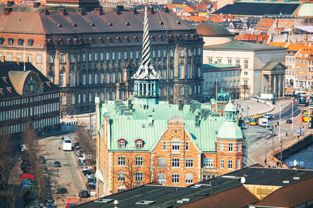 Scenery of Copenhagen Indre By . View of Borsen spire and central Copenhagen 스톡 콘텐츠