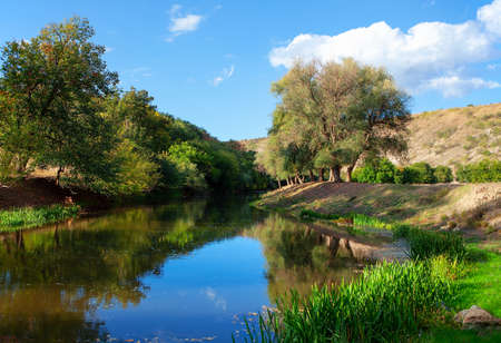 Scenic river nature . Halcyon green landscape 스톡 콘텐츠