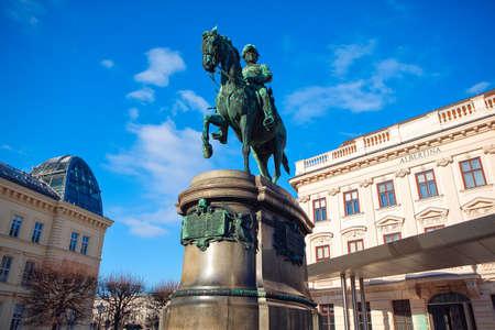 Monument of Erzherzog Albrecht von Osterreich in Vienna . Austrian Habsburg general, Field Marshal in the armies of Austria Hungary and Germany 에디토리얼