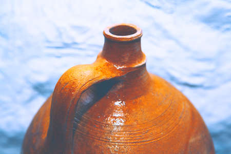 Old Pottery Jug with Narrow Neck 스톡 콘텐츠