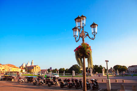 View of Piazza Prato della Valle in Padua Italy . European city with scooter parking