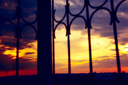 Awesome sunset through the barred window