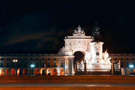 Lisbon Downtown in the nighttime . Lisboa Praca do Comercio illuminated in the night Stok Fotoğraf