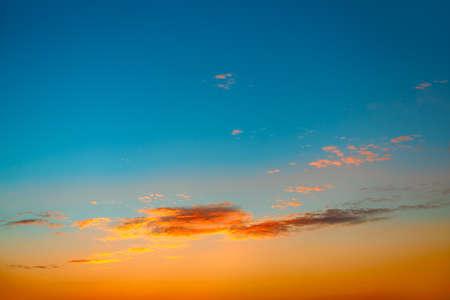 Blue and orange tones of evening sky