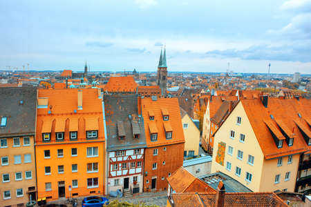 Nuremberg aerial cityscape , view of rooftops and St. Sebald church spire. Residential german district