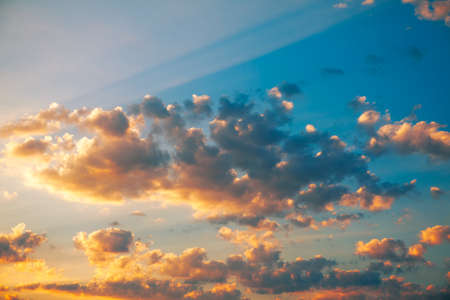 Sun rays on the morning heaven . Illuminated sky in the dawn