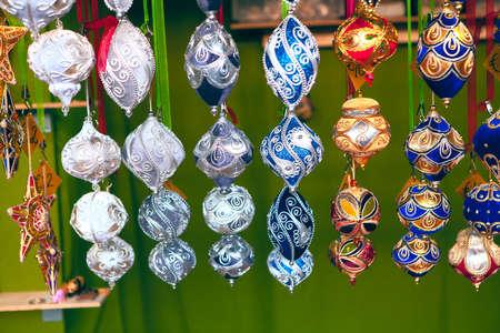New year bazaar with hanging Christmas balls Stok Fotoğraf