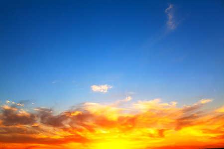 Heaven with orange clouds . Scenery of twilight sky