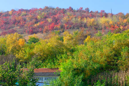 Rustic house with tiled roof situated at downhill . Autumn in countryside Stok Fotoğraf
