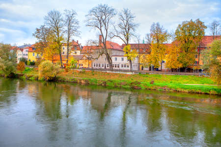 Danube nature in the late autumn . Regensburg, a Bavarian city in the fall season