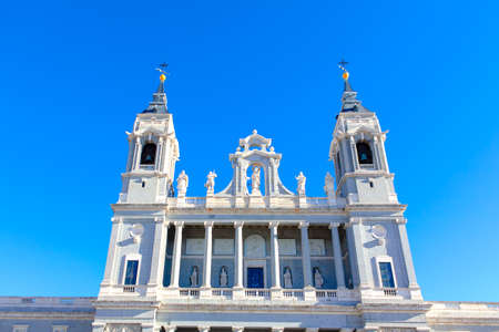 facade of Catedral de la Almudena in Madrid . Famous cathedral in Spain capital city