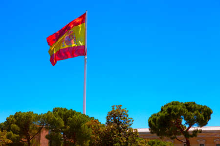 Waving Spanish Flag in central Madrid