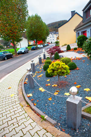 Luxembourg typical street and pavement in autumn . residential district of Luxembourg Stockfoto