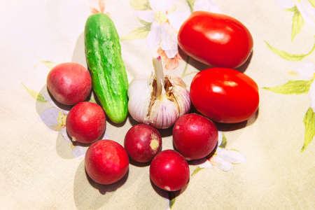 Tomatoes radish garlic and cucumber . Fresh vegetables for salad