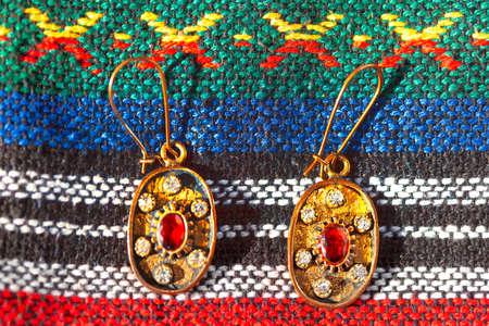 Traditional earrings from Bosnia and Herzegovina . Balkans traditional bijou