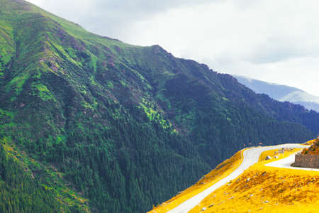 Transfagarasan Highway in Romania . Spectacular and best-known road through the Carpathian mountains