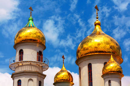 Russian Golden Cupola . Domes on the top of Christian church