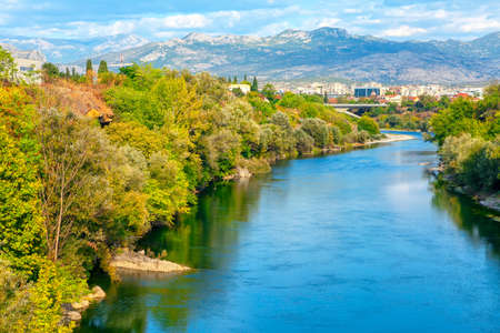 View of Moraca River and Mountains in Podgorica Montenegro Stok Fotoğraf