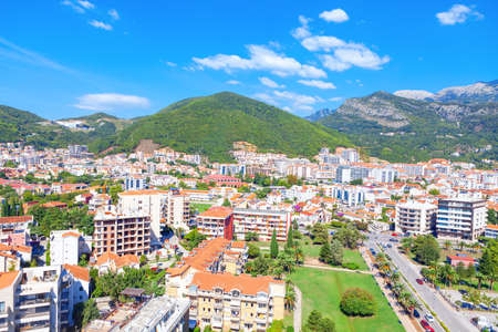 Budva City in Montenegro Aerial View  . Panorama of Coastal city of Adriatic Sea In Montenegro