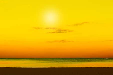 Calm sea with sunset . Seascape in the evening . Sundown over the sea Stok Fotoğraf
