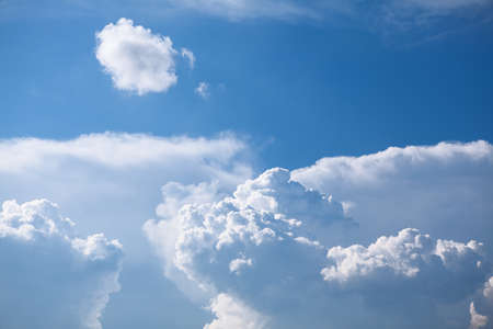 Blue atmosphere with clouds . Summer sky with sunlight Stok Fotoğraf