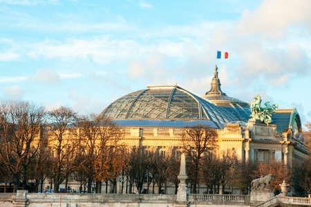 Grand Palais famous architecture in Paris . France flag waving on the famous building Stok Fotoğraf