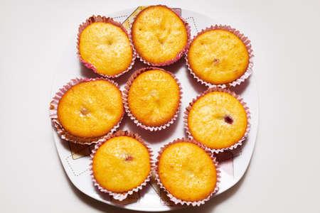 Cupcakes on the plate . Homemade Vanilla cakes Stok Fotoğraf
