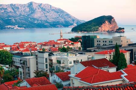 View of Budva Coastal town in Montenegro and Sveti Nikola island in Adriatic Sea Stok Fotoğraf