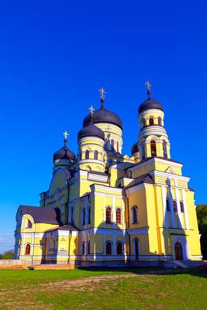 Monastery Hincu ,Full Size photography . Famous place of worship in Moldova . Orthodox church with cupolas