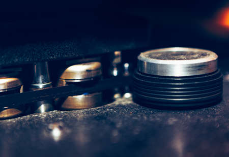 Details of vintage Tape Magnetophon for broadcasting . Professional Magnetic Tape for Vintage Recording Studio