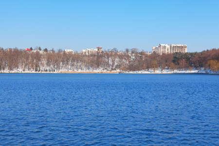 Valea Morilor Lake in Chisinau Moldova . City lake in the winter