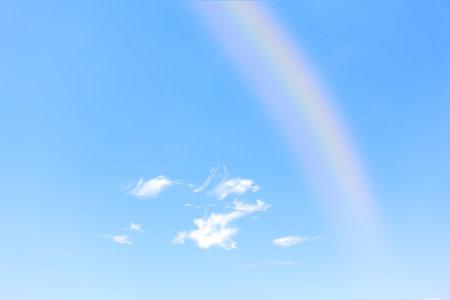 Rainbow on the clear sky . Sunny sky after rain Stok Fotoğraf
