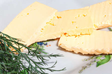 Cheese with dill . Breakfast in rustic style