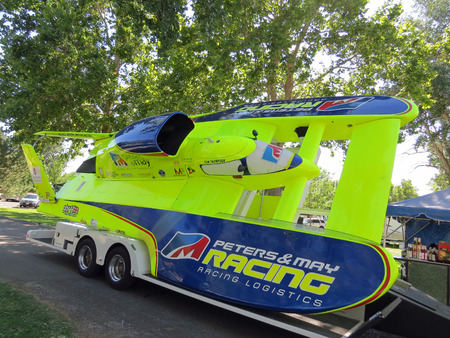 hydroplane: Chartreuse Painted Hydroplane