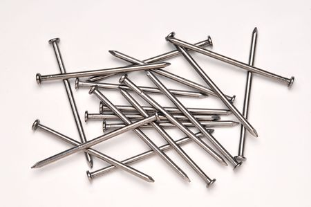construction nails: A random arrangement of large metal nails