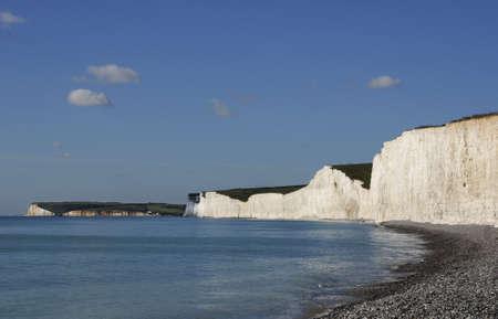 Chalk Cliffs, sea and coastline in Sussex England photo